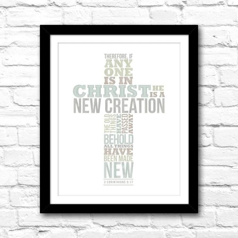 Christian Cross Typography Modern Wall Art \u2013 8x10 Printable File