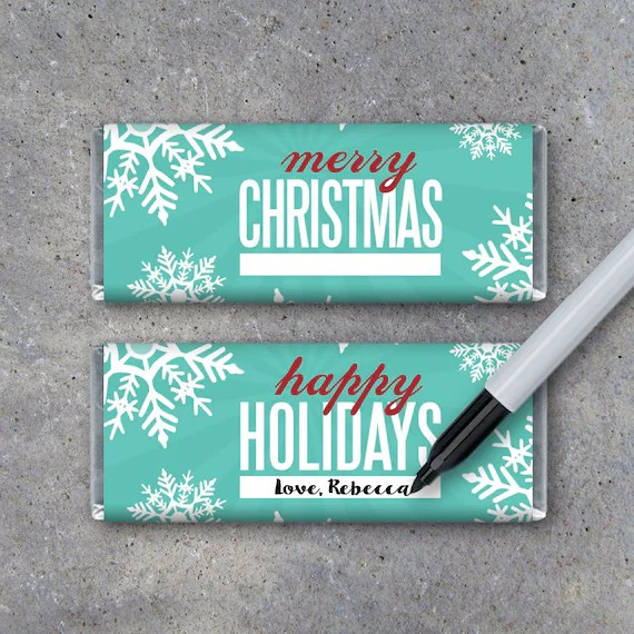 Merry Christmas  Happy Holidays Candy Bar Wrappers \u2013 Printable