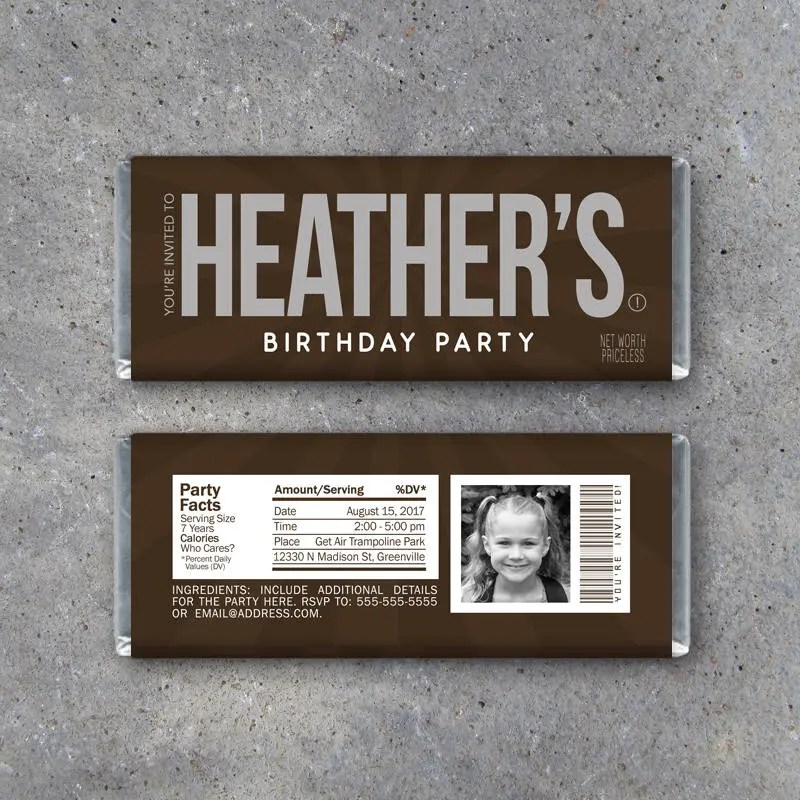 BIRTHDAY PARTY INVITATION Candy Bar Wrappers Printable Etsy