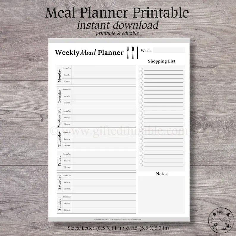 Weekly Meal Planner Printable Meal Planner Shopping List Etsy