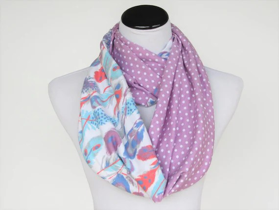 Feathers Scarf Polka Dot Scarf Feather Print Scarf