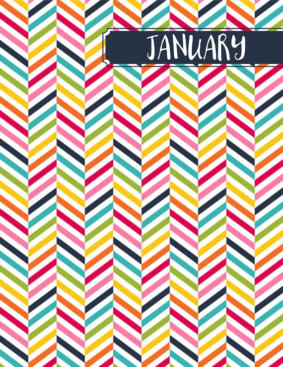 Monthly Binder Covers and Spine Labels Colorful Etsy
