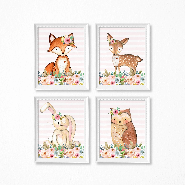 Nursery Art Printable Set Woodland Deer Bunny Owl Raccoon Etsy