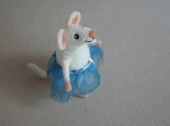 Needle felted mouse girl Felt mice figurine Mommy gift Etsy