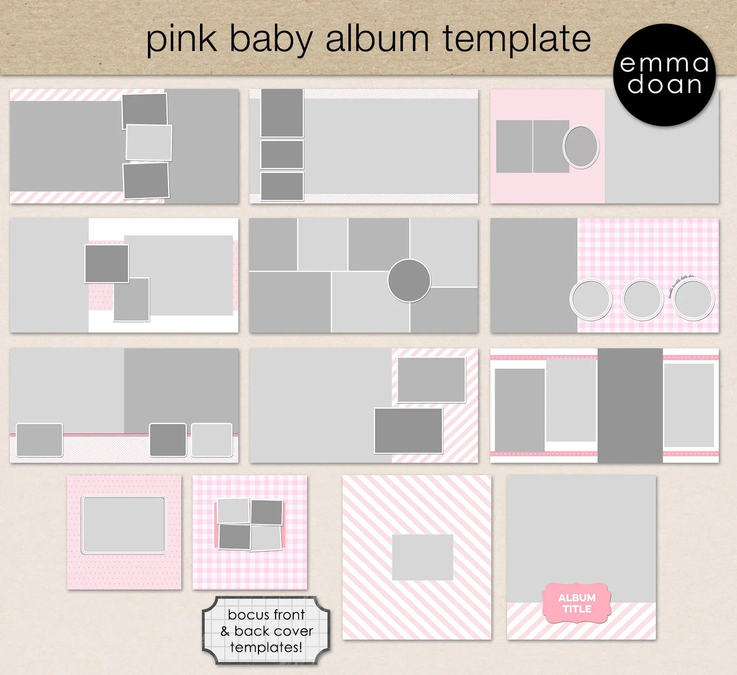 Baby Album Template 1212 Baby Girl Album Square Etsy