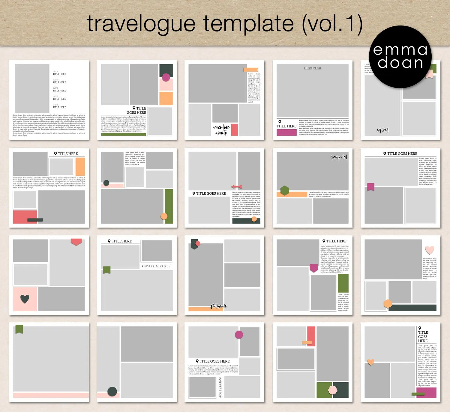 Digital Scrapbooking Template Travel Album Photo Templates Etsy