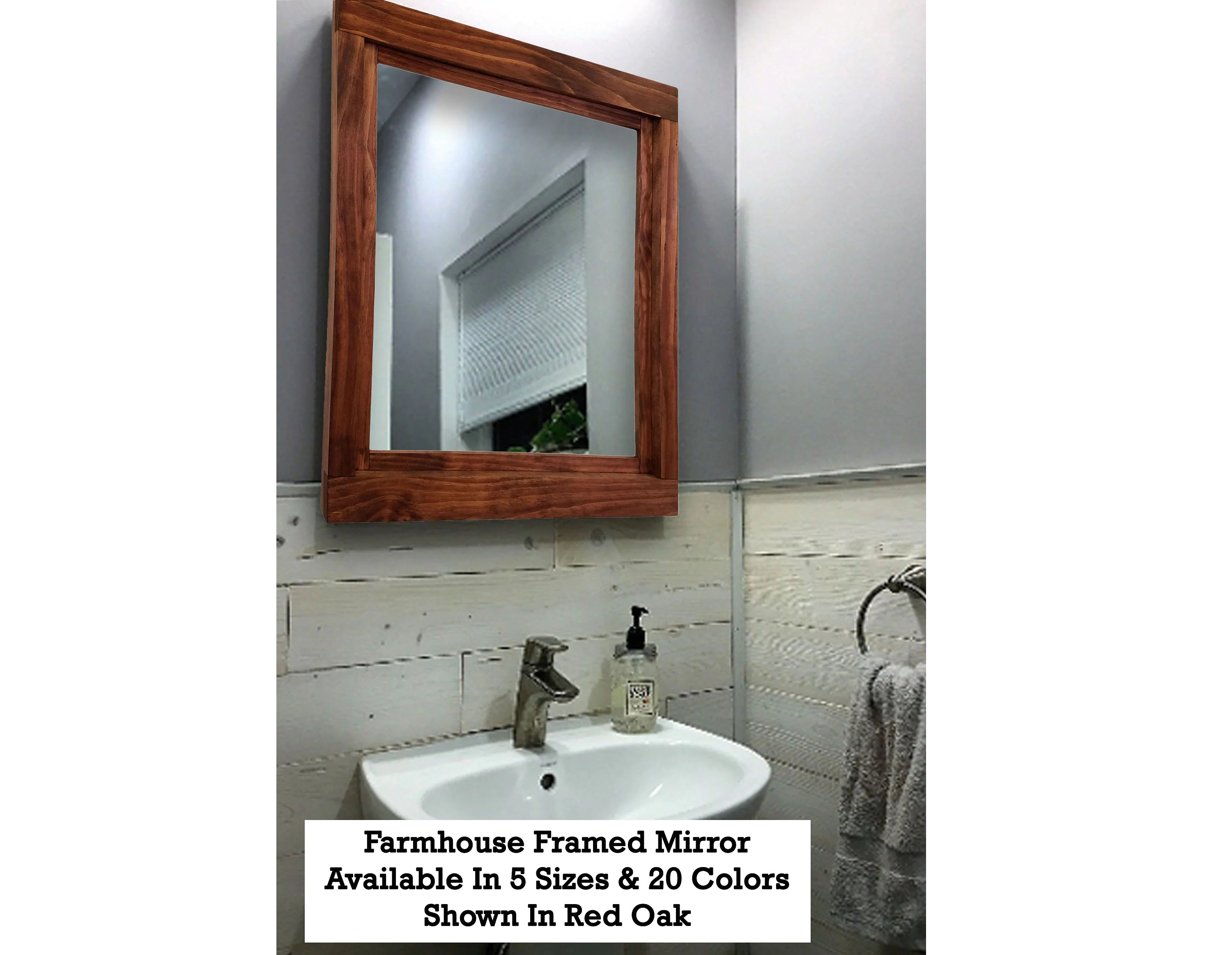 Large Wall Mirrors Farmhouse Mirror Wood Frame Mirror Large Wall Mirror Bathroom Mirror Vanity Mirror Wall Mirrors Red Oak 20 Colors