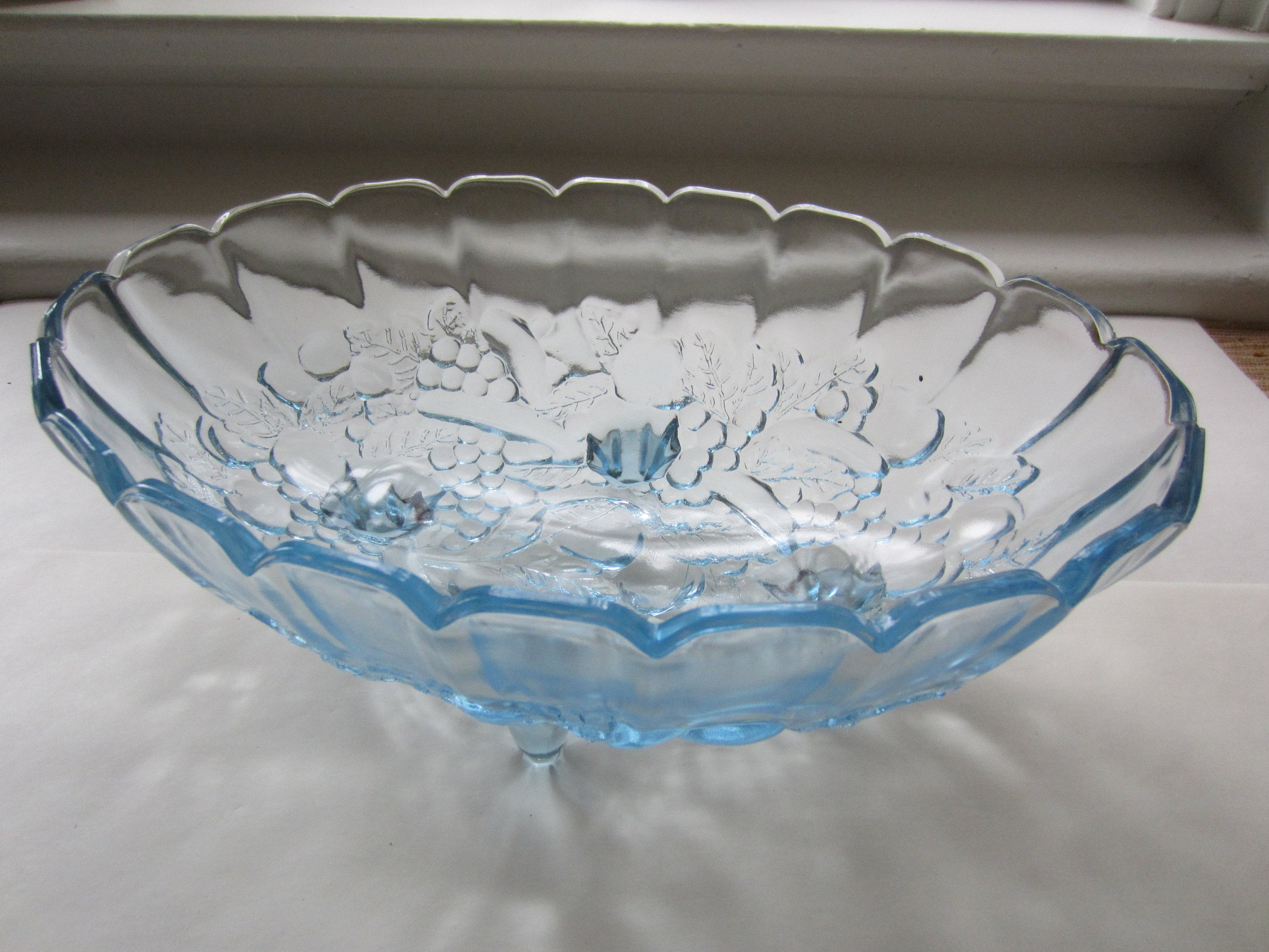 Decorative Glass Bowls Vintage Blue Glass Bowl Four Footed Bowl Glass Decorative Bowl Glass Serving Bowl Vintage Dining And Serving Scalloped Edge Bowl