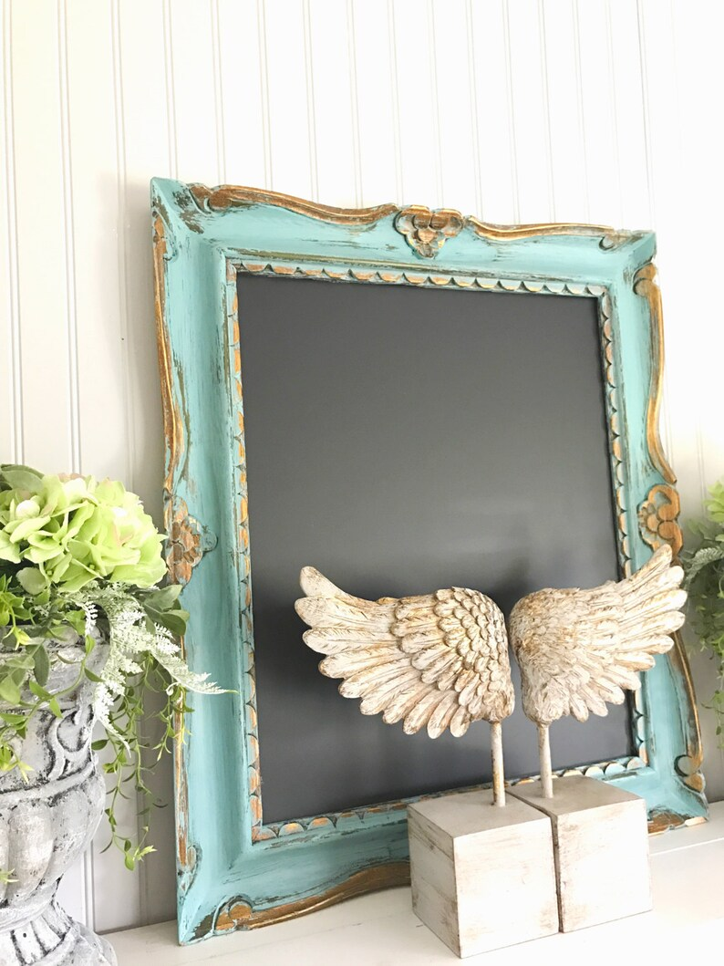 Kleine Schoolbordjes Large Office Chalkboard Decorative Wood Frame Memo Board French Ornate Cafe Black Board Turquoise Blue And Gold Wedding Chalkboard