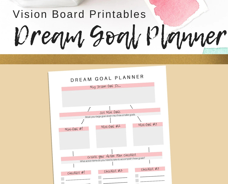 Dream Goal Planner Printable Goal Setting Printable PDF Etsy