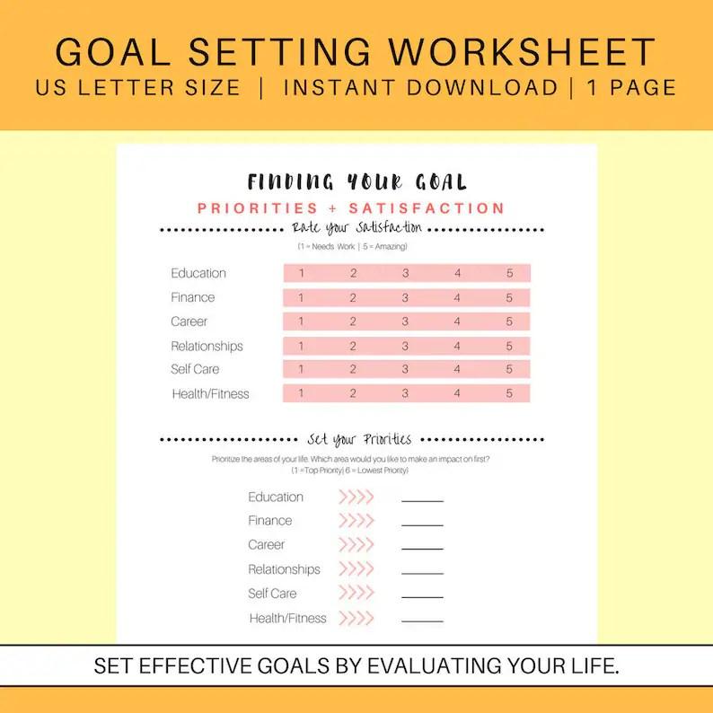 Goal Setting Worksheet set goals achievement planner self Etsy