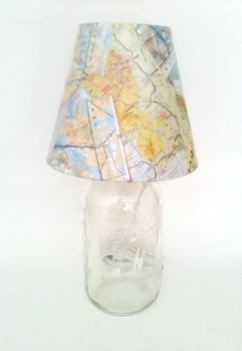 Glass Jar Lamp Shade Mason Jar Desk Lamp Table Lamp Vintage Map Lamp Shade Table Etsy