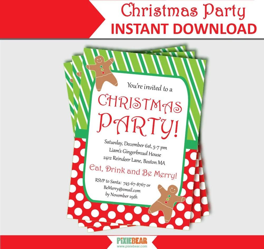 Christmas Party Invitation - Editable Christmas Party Invitation