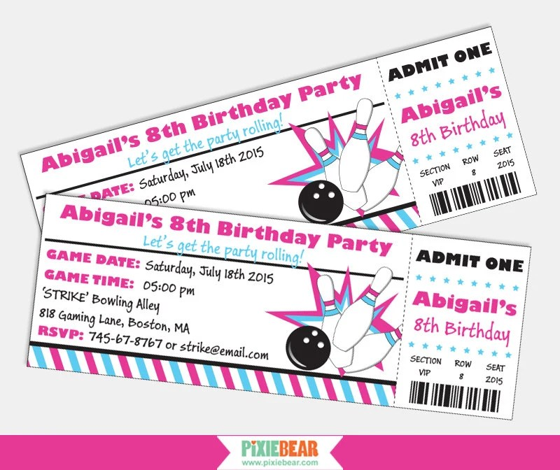 Girl Bowling Party Invitation Printable Bowling Birthday Etsy