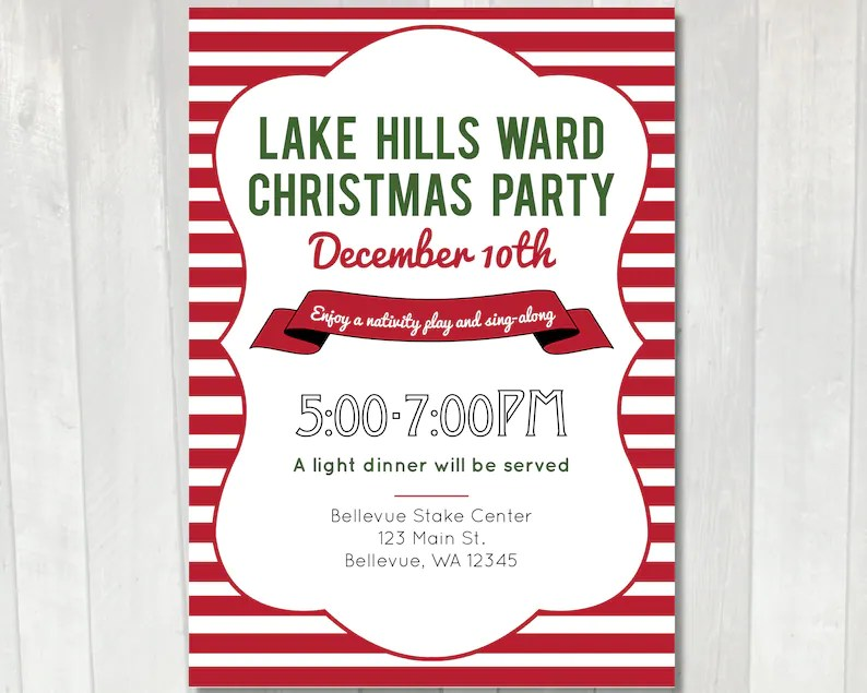 Printable Christmas Party Invitation LDS Ward Christmas Etsy