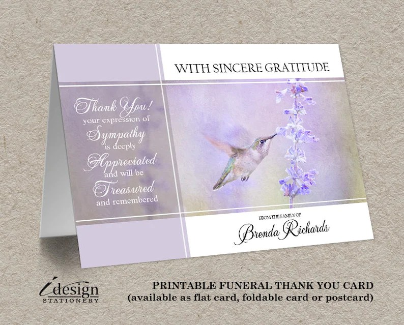 Funeral Thank You Card Mourning Thank You Cards Funeral Etsy