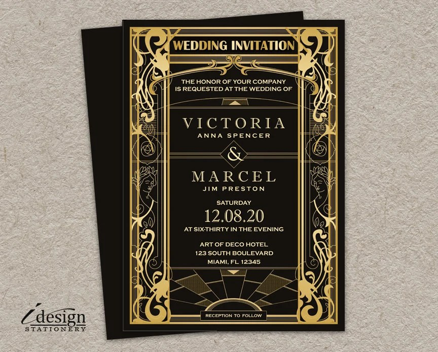 Vintage Art Deco Wedding Invitation DIY Printable Great Etsy