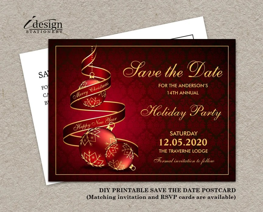 Christmas Party Save The Date Cards DIY Printable Corporate Etsy