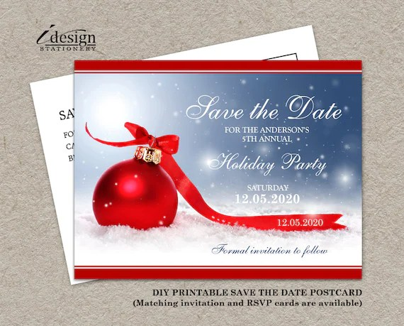 Christmas Save The Date Card Printable Holiday Party Save Etsy