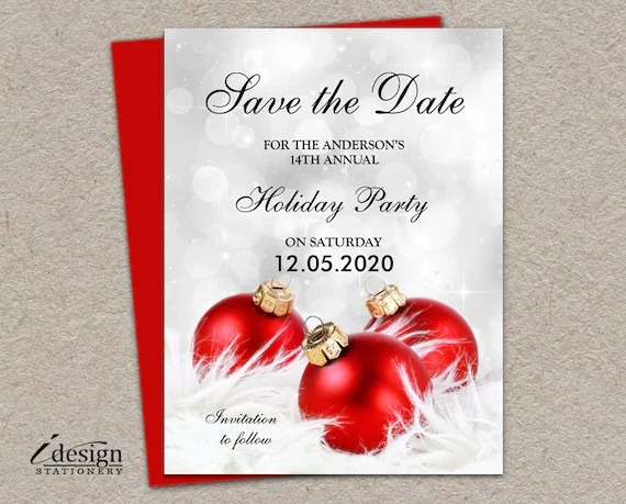 Holiday Party Save The Date Cards DIY Printable Corporate Etsy