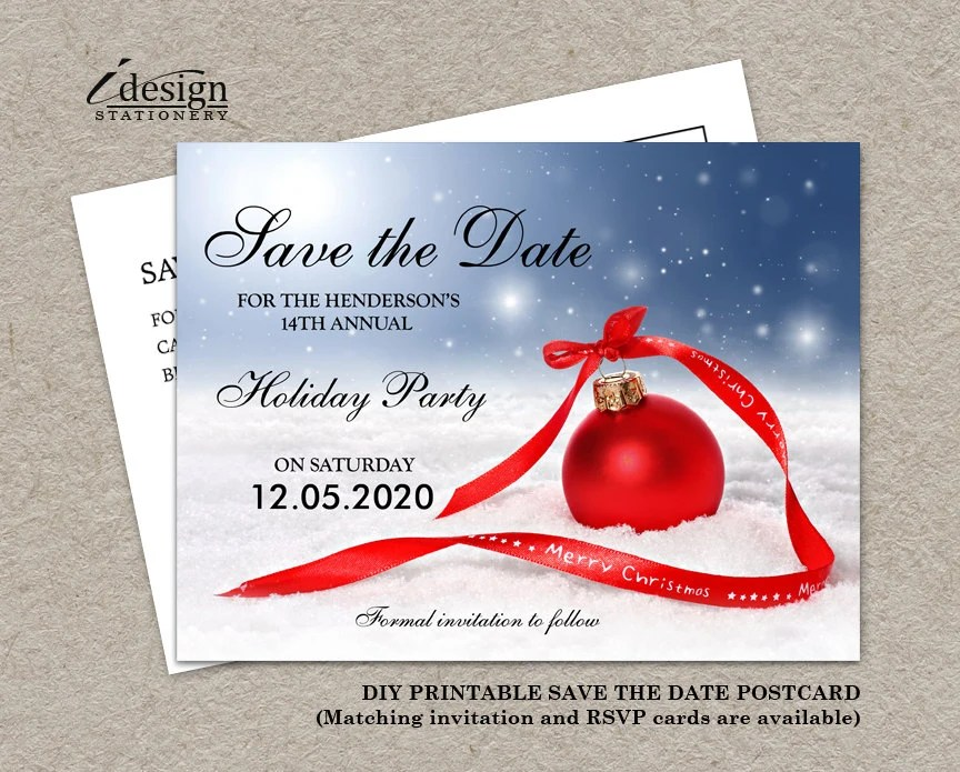 Christmas Party Save The Date Card DIY Printable Corporate Etsy