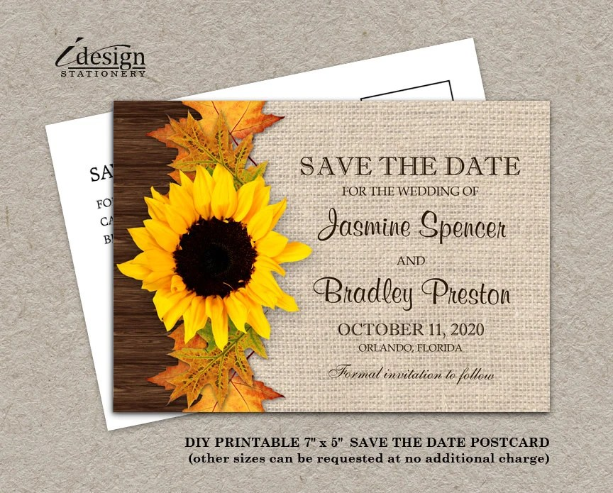 Fall Save The Date Printable Sunflower And Leaves Wedding Etsy
