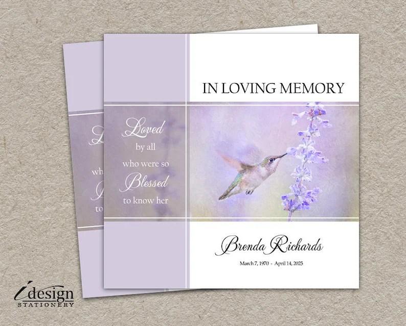 Memorial Service Invitation Funeral Announcement Printable Etsy