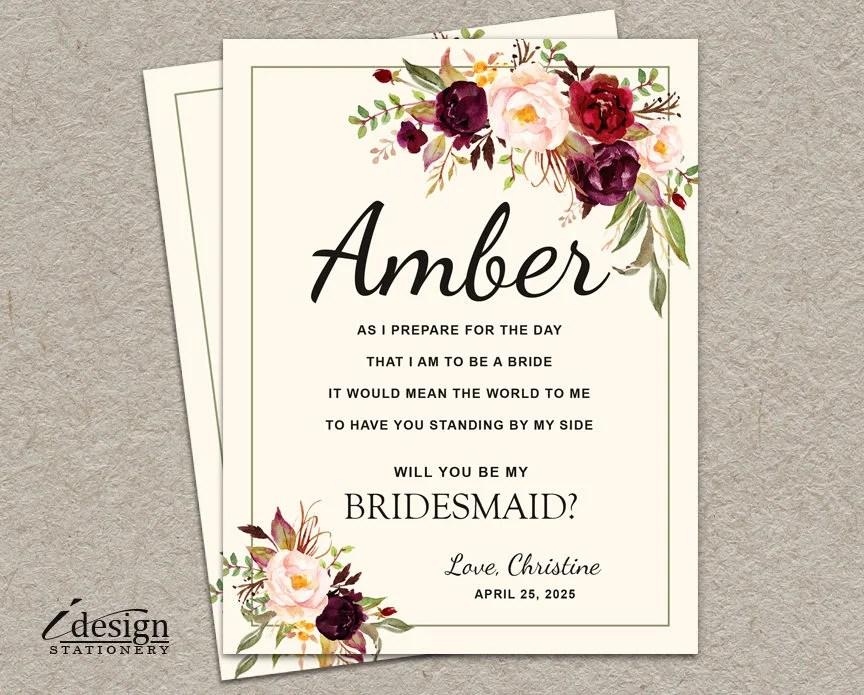 Will You Be My Bridesmaid Card DIY Printable Boho Bridal Etsy