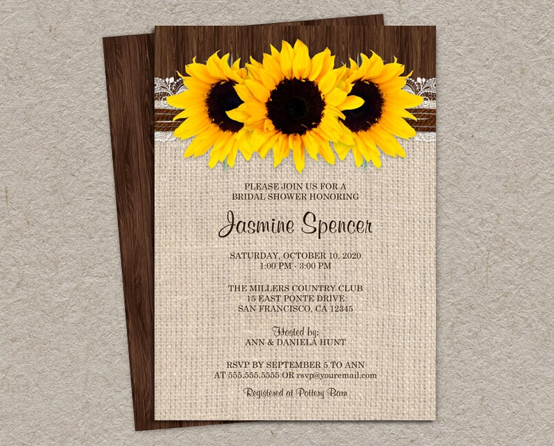 Sunflower Bridal Shower Invitations Printable Rustic Country Etsy