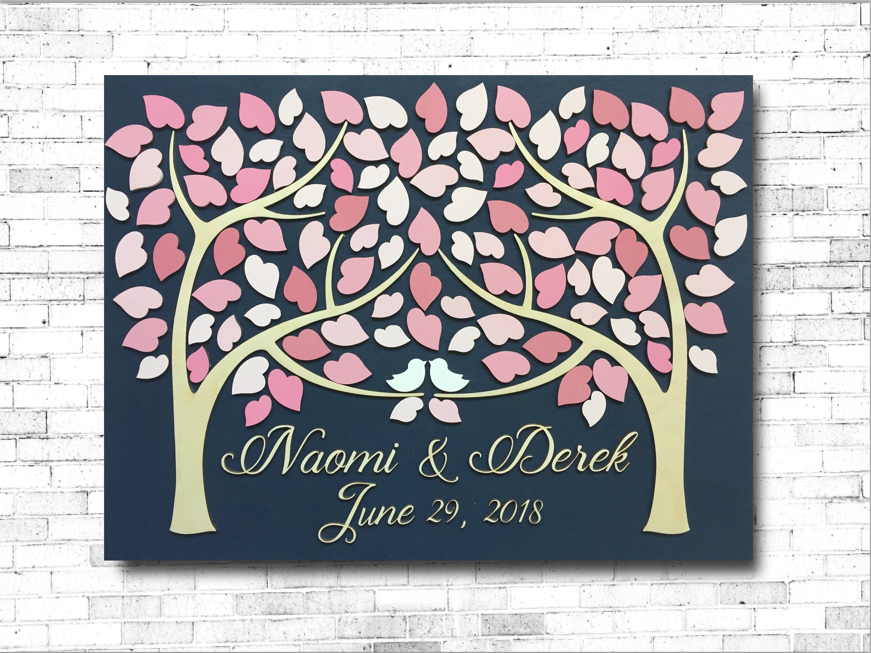 Wedding guest book alternative 3D guestbook wood tree of hearts two
