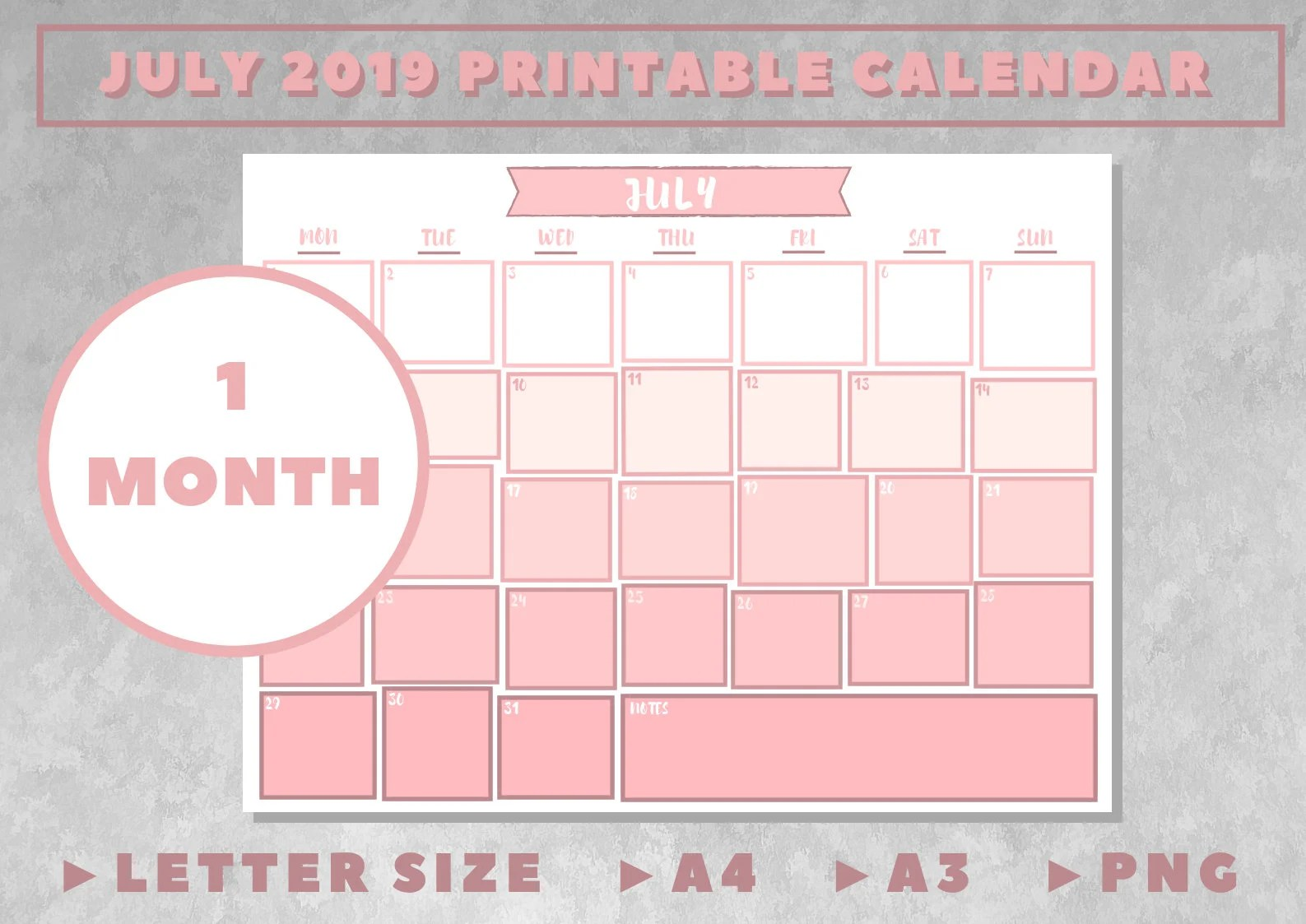 Printable Calendars July 2019 Pink Ombre Planner for Etsy