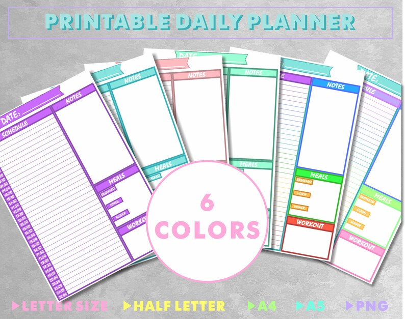 Multi Color Print At Home Daily Planner with Time Slots Meal Etsy