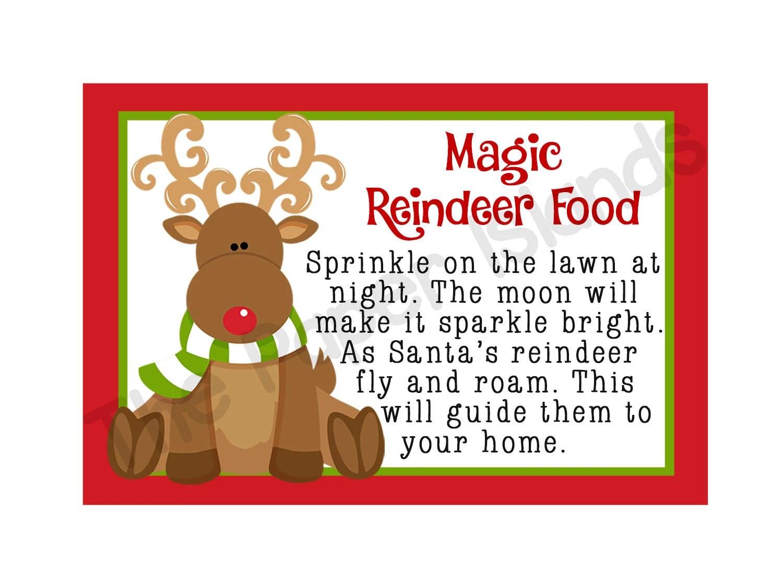 INSTANT DOWNLOAD Magic Reindeer Food-Printable Magic Reindeer Food