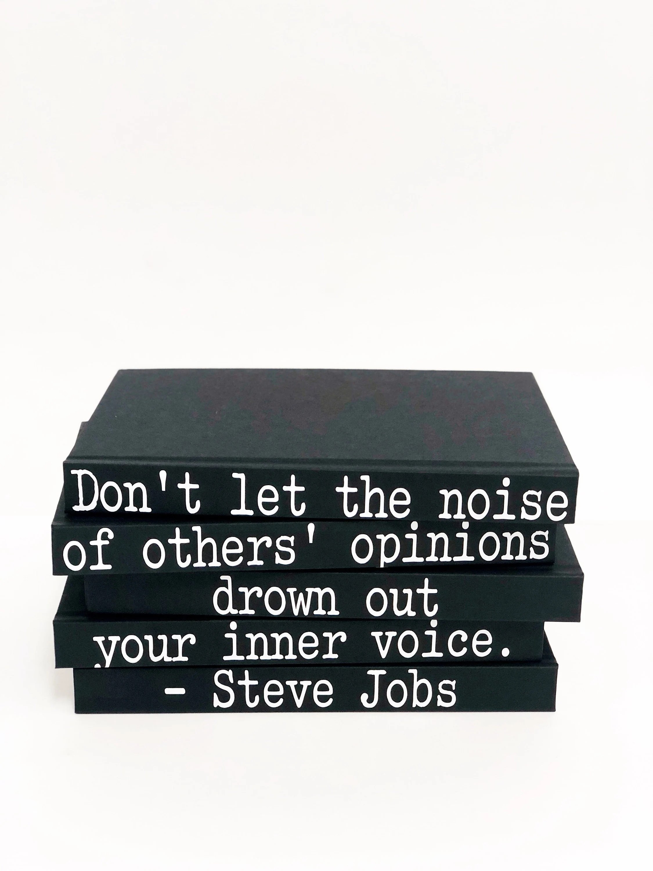 Home Decor Jobs Don T Let The Noise Steve Jobs Quote Decorative 5 Book Set Home Staging Housewarming Gift Bookshelf Design Inspirational Home Decor