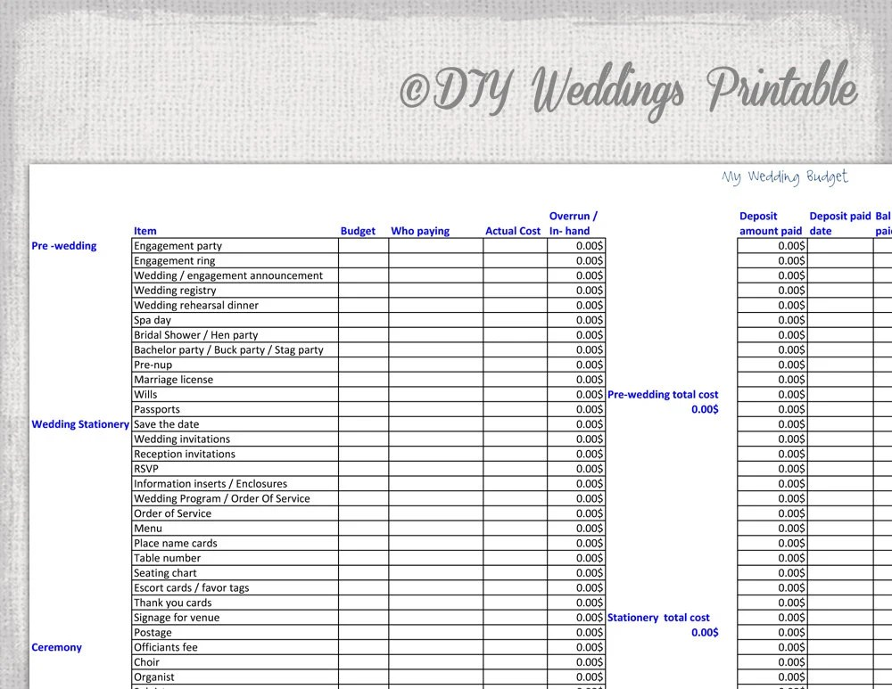 Wedding budget spreadsheet Printable wedding budget template Etsy