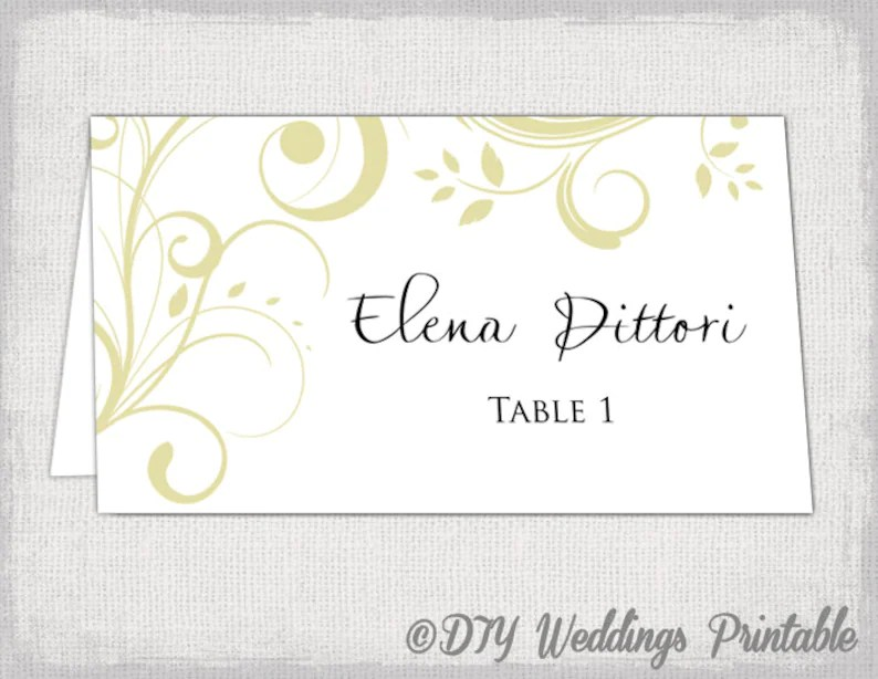 Gold place card template Scroll name cards DIY Etsy