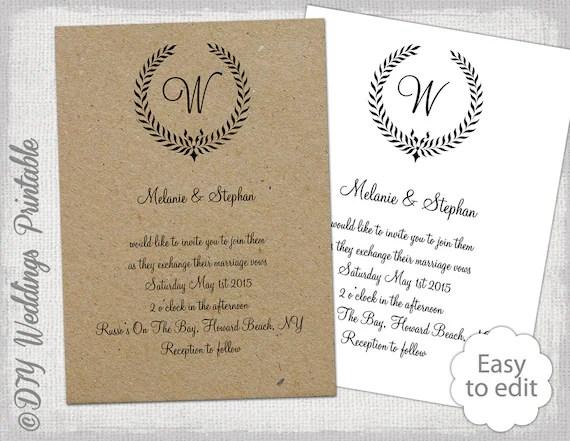Printable Wedding invitations template Rustic Leaf Etsy