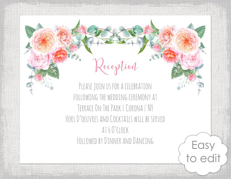 Reception invitation template DIY printable wedding reception Etsy