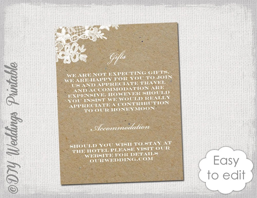 Enclosure card template Rustic Lace Printable Etsy