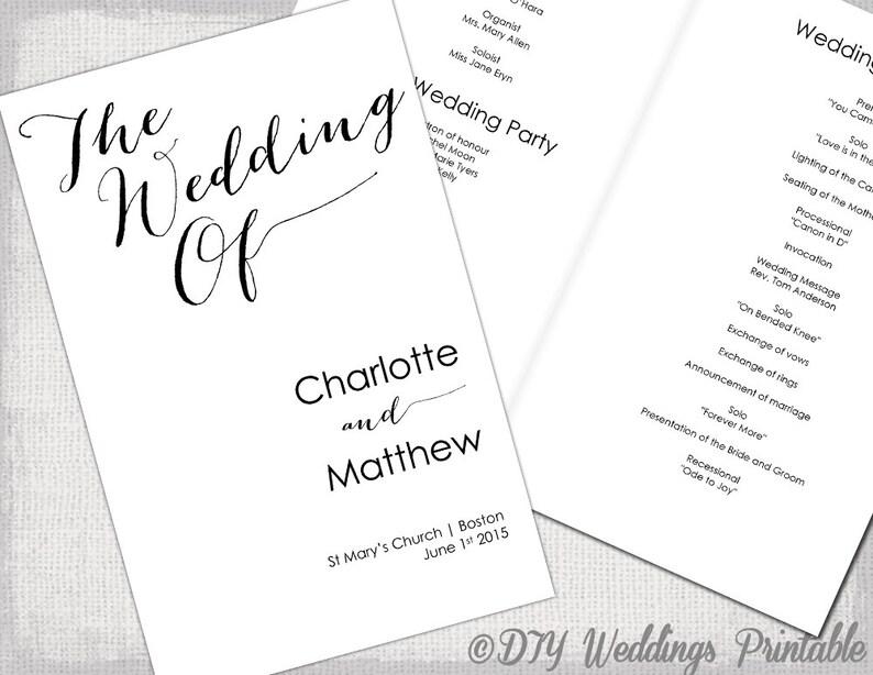 Wedding program template Calligraphy black  white printable Etsy