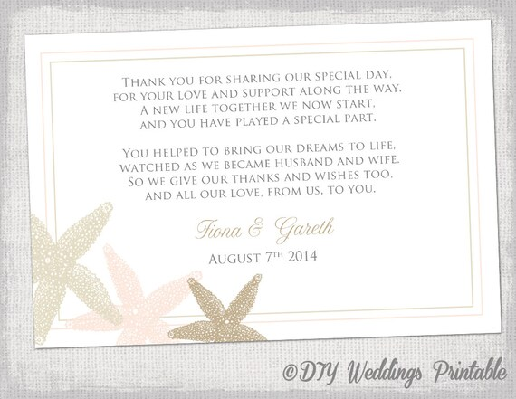 Beach Wedding thank you card template Starfish Etsy