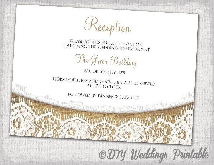Rustic Reception invitation template download DIY printable Etsy