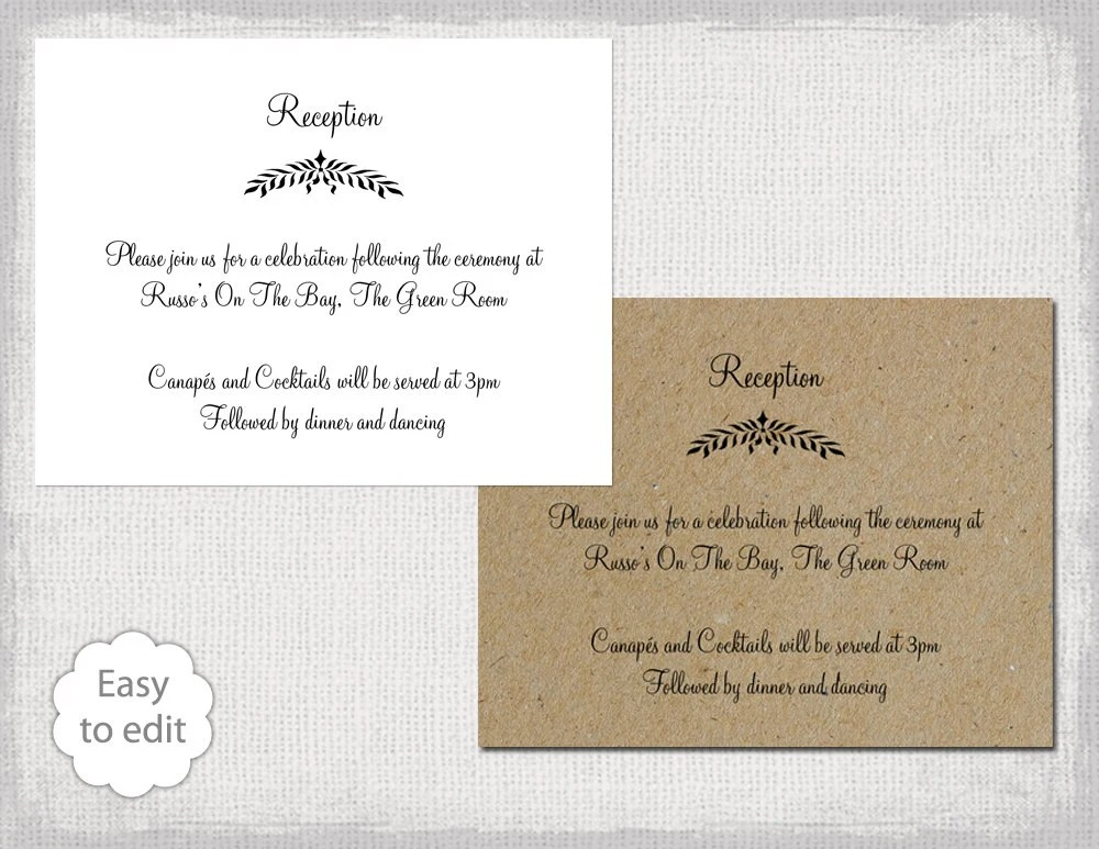 Reception only invitation template Leaf Garland Etsy