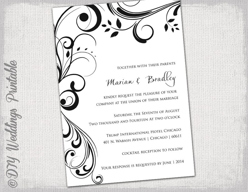 Wedding invitation templates black and white Etsy