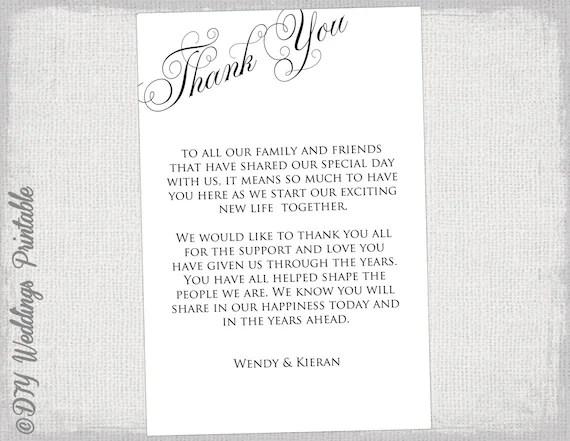 Printable Thank you card template black  white wedding thank Etsy