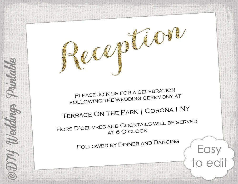 Wedding Reception invitation template DIY Gold Etsy