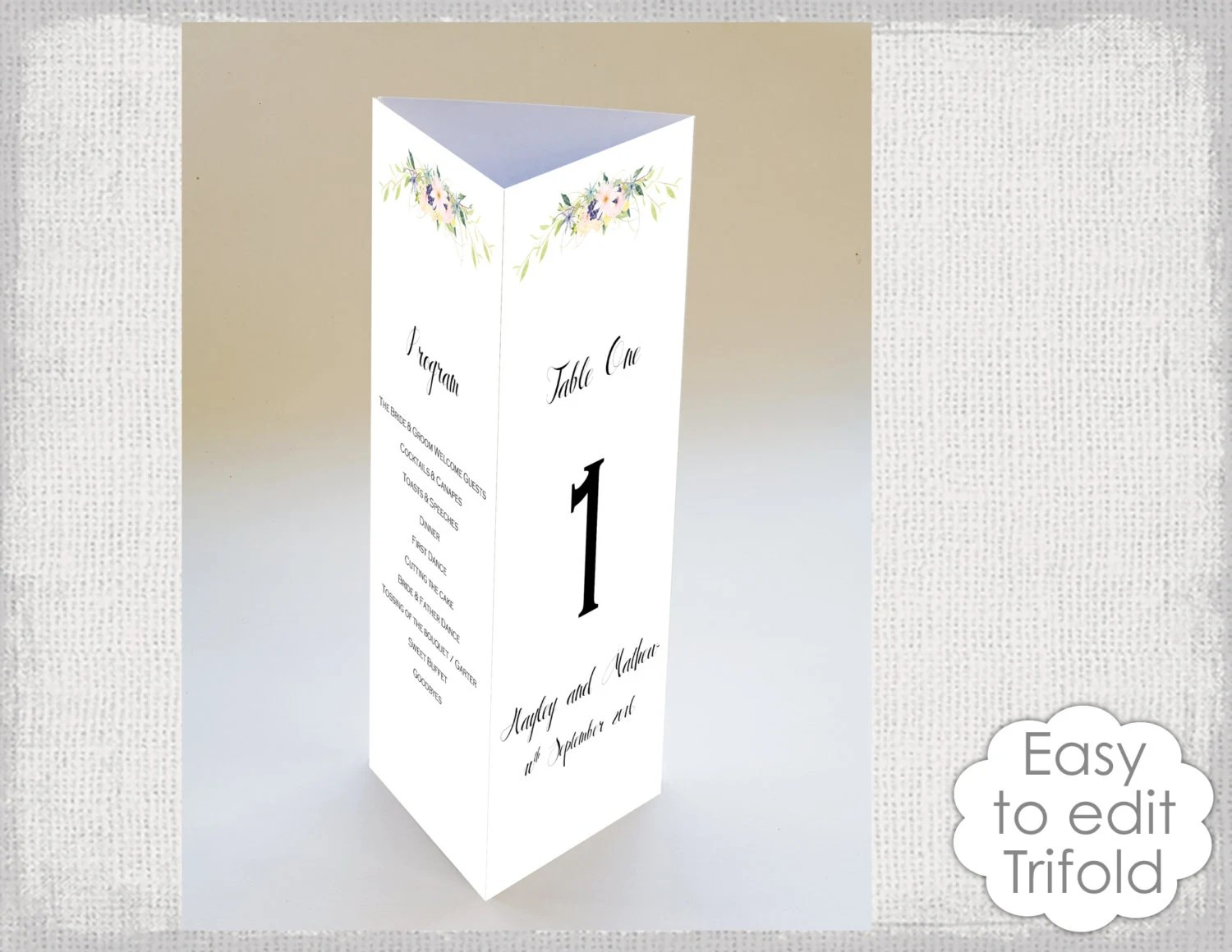 Trifold Wedding table card template Eden flower Etsy