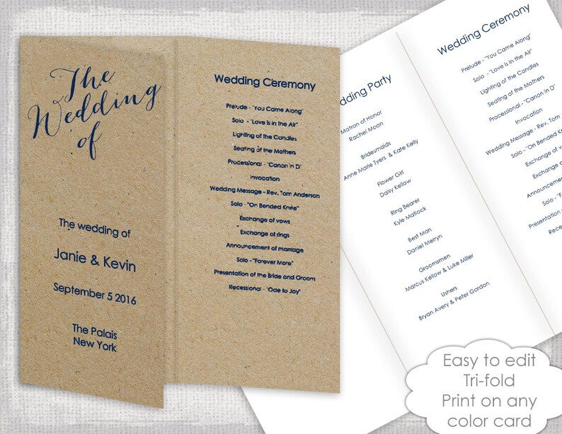 Trifold Wedding programs template Navy calligraphy Etsy