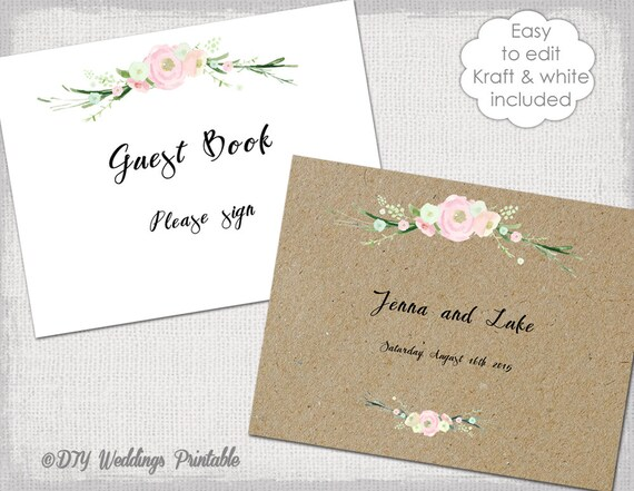 Wedding Guest Book Sign  printable guestbook cover template - printable guest book templates