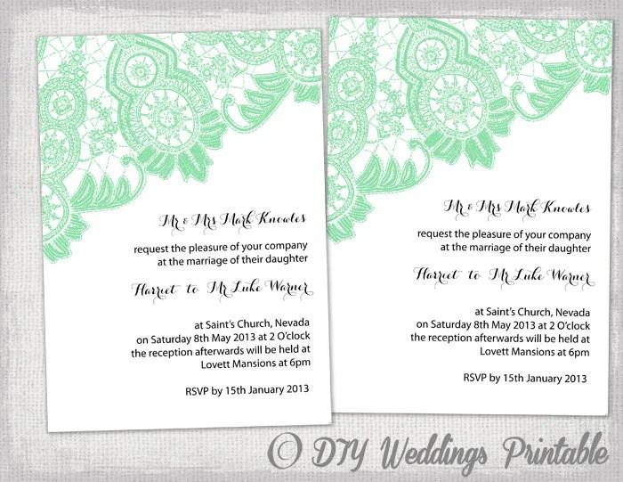 DIY Wedding invitation template Editable Mint Green Etsy